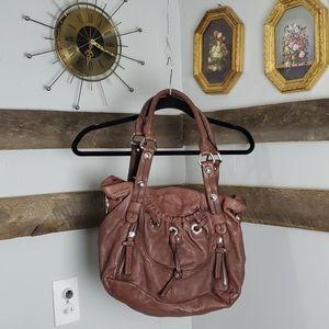 Rust brown B Makowsky leather hand bag